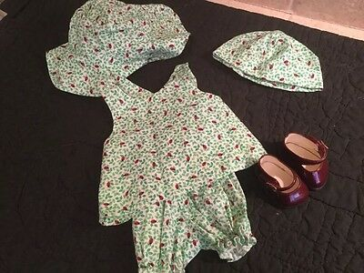 American Girl Bitty Baby Twins Lady Love Bug Outfit Shorts Pinafore Hat Red Shoe
