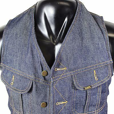 VTG 70s LEE Storm Rider DENIM VEST Small Sherpa Lined Indigo Jean Made In USA!