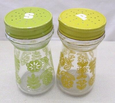 Vintage Glass Salt & Pepper Shakers Yellow Green Flowers Floral Large Retro Set