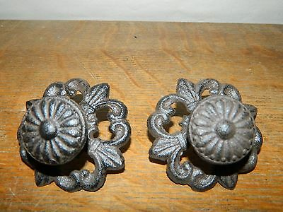 French Style Set/2 Cast Iron Fleur De Lis Drawer Cabinet Pull Knobs W/Back Plate