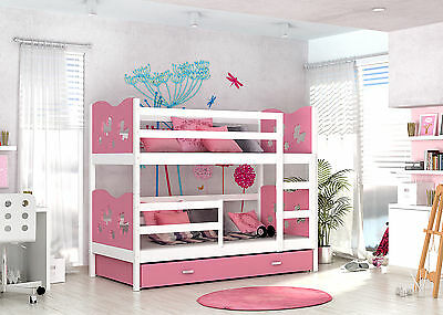 Max Bunk Bed Childrens With Basic Foam Mattresses/Storage Drawer 7 Colours