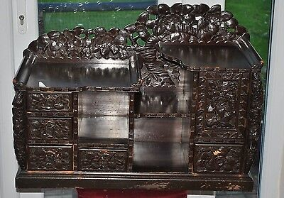 "Carved Wooden Desktop Cabinet Lotus flowers 4 drawers + hidden 30"" x 20"" x 11"""