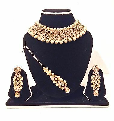 New Indian Bollywood Costume Jewellery Set Choker Stone Pearl Gold Bronze Colour