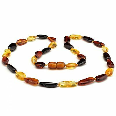 Amber Necklace Adult Unisex Multicolour approx 45cm Oval Beads Genuine Baltic