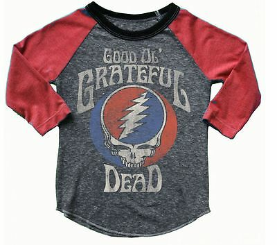 New Rowdy Sprout Kids Grateful Dead Long Sleeve Red Grey Super Soft Boy's Tee 12