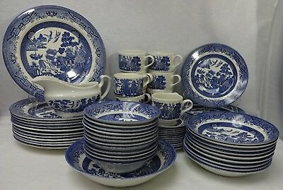 CHURCHILL china BLUE WILLOW pattern 48-piece SET SERVICE for Twelve (12)
