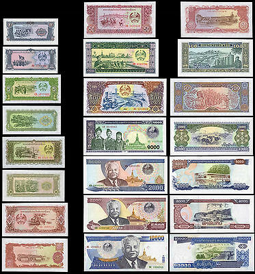 Bank of the Laos Paper Money 1 - 10,000 Kip Set of 11 1979 - 2003