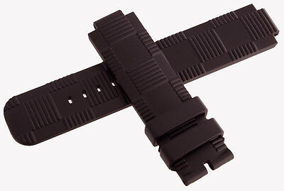 Louis Vuitton Tambour OEM 12mm x 21mm Dark Brown Rubber Mens Watch Band Strap