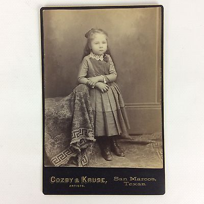 Antique Cabinet Card Photo Studio Portrait Little Girl Black & White 4 X 5.5