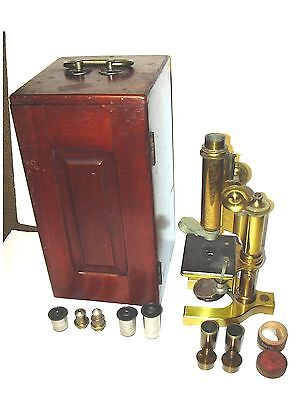 ANTIQUE 1897 BAUSCH & LOMB OPTICAL CO BRASS MICROSCOPE &  Wooden Box & 5 Lenses