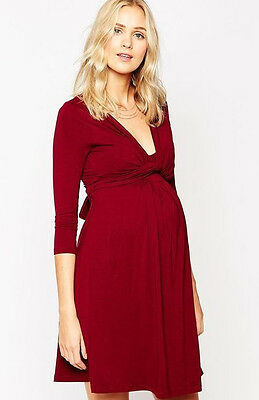 Isabella Oliver ~ Red Jersey Wrap Front V-Neck Long Sash Maternity Dress S NEW