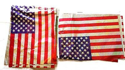 Patriotic Banner Red Blue Silver US Flag Pattern Party Decor Parade Lot of 2 New