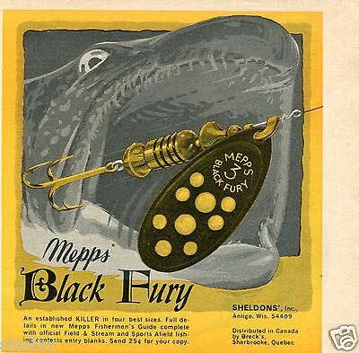 1970 small Print Ad of Sheldons' Mepps Black Fury 3 Fishing Lure