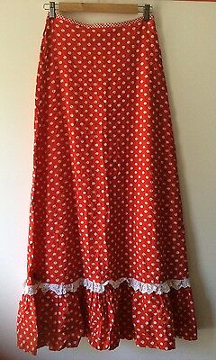 Vintage 70's A-line Maxi Skirt Red & White Cotton Seersucker Polka Dot Size S