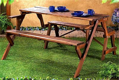 2-in-1 ** RUSTIC CONVERTIBLE PICNIC TABLE/PICNIC BENCH FOR PATIO OR YARD * NIB