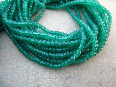 """13"""" Natural Beautiful Green Onyx faceted Gemstone Rondelle beads 3 to 3.5 MM"""