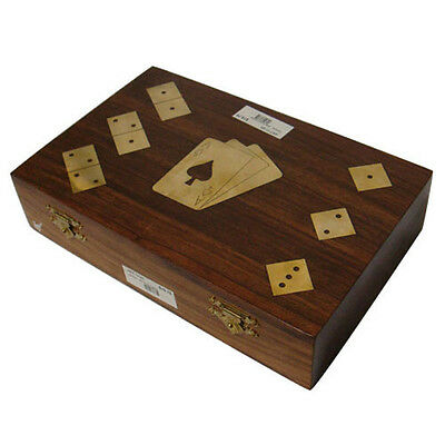 Wooden Game Set Storage Box with Dominos, Dice & Cards Set of 2 Brass Goblets