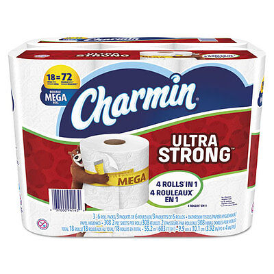 Charmin Ultra Strong Bathroom Tissue, 2-Ply, 4 x 3.92, 308/Roll, 18 Roll/Pack