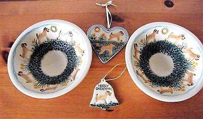 Wheaten Terrier Ceramics - Two Small Dishes, A Heart And Christmas Bell