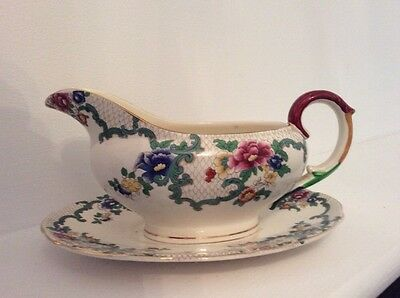 Royal Cauldon Victoria Large Gravy / Sauce Jug / Boat With Saucer