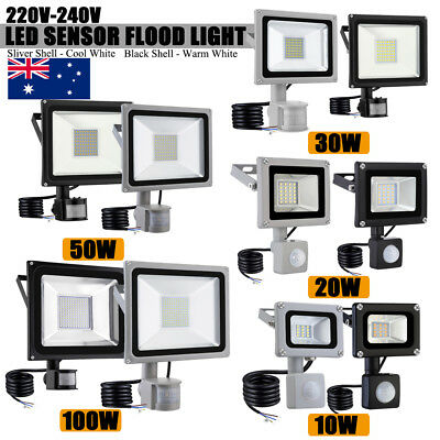 10W-100W PIR Motion Sensor LED Flood Light Cool Warm White IP65 Floodlights 240V
