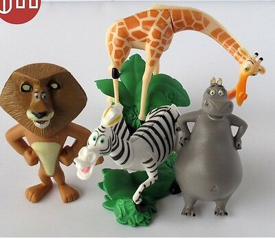4 Pcs set of MADAGASCAR MOVIE FIGURES CAKE TOPPERS GIFT Toys