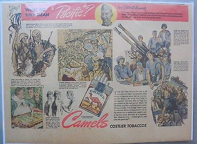 Camel Cigarette Ad: Pacific by Artist Gilbert Bundy Half or Tabloid Page