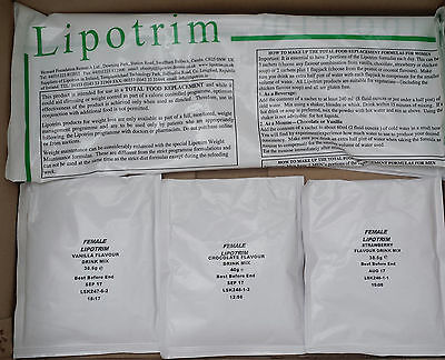 21 Sachets 1 Week Lipotrim Diet Shakes For Females Any Flavours
