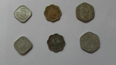 6 Coins- 3 Different INDIA COINS--# us- FREE SHIPPING UNCERCULATED