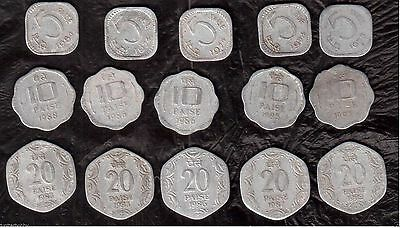 15 Coins- 3 Different INDIA COINS--