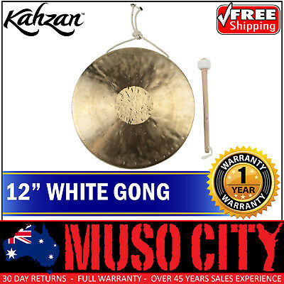"New Kahzan 12"" White Gong Hand Percussion Cymbal Drum"