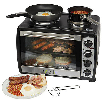 Koolle Mini 1500w Oven 35 Litres Black Convection Double Hob Hot Plate & Grill