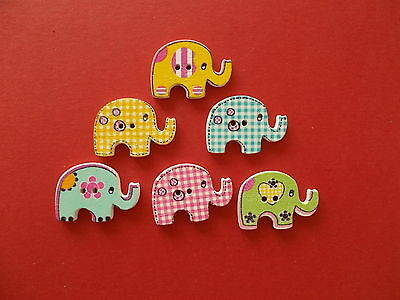 6 X Cute Elephant Shaped Wooden Fridge Magnet Assorted Mixed Random Colours