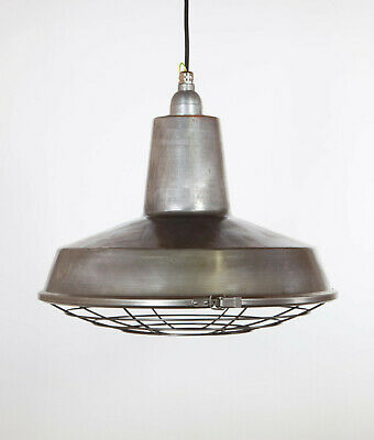 LINTON WITH CAGE - Factory Enamel Ceiling Pendant Light - Vintage Industrial