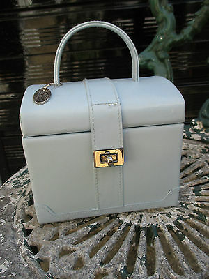 Vicenza Travel Jewellery Box/case. Genuine powder blue Leather