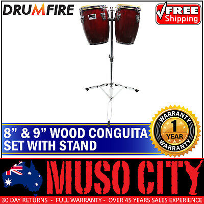 "New Drumfire Conguita 8"" & 9"" Bongo Set with Stand Hand Drum Percussion"