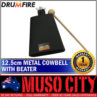 New Drumfire 12.7cm Metal Cowbell with Wooden Beater Hand Percussion