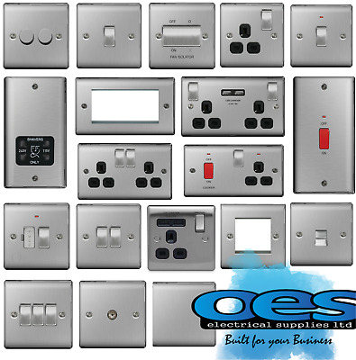 Bg Nexus Metal Brushed Steel Decorative Light Switches & Sockets Black Inserts