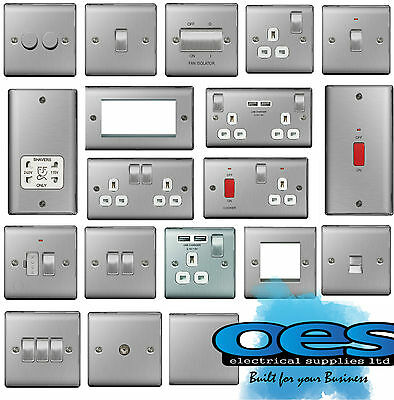 Bg Nexus Metal Brushed Steel Decorative Light Switches & Sockets White Inserts