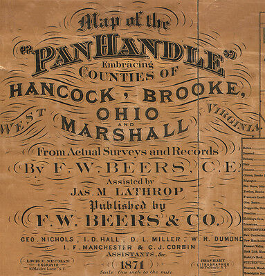 1871 Map of the Panhandle Hancock Brooke Ohio & Marshall Counties West Virginia