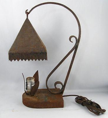 Antique Wrought Iron Arts & Crafts Table Lamp Hand Made Metal Art