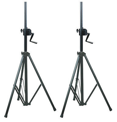 2 x NJS 35mm Heavy Duty Wind Up Speaker Stand Heavy Duty Black Steel