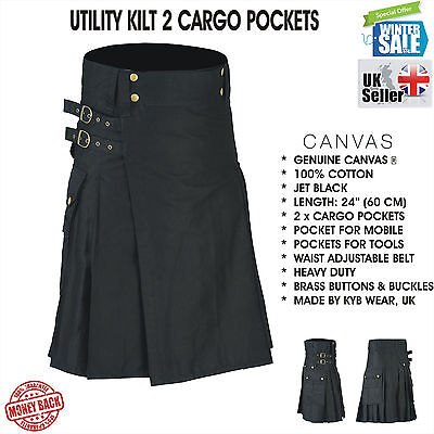 Mens BLACK Scottish Working Utility Kilt Kilts Cotton Canvas Cargo Pockets Sport