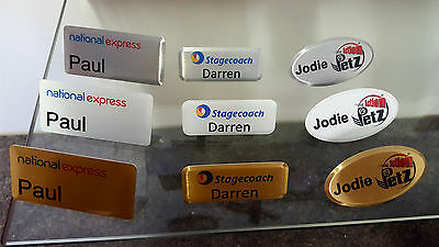 Aluminium Name Badge Staff ID Silver Gold White - With Pin - Full colour print