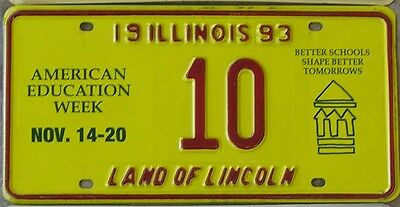 ILLINOIS SPECIAL EVENT LICENSE PLATE for 1993 American Education Week No. 10