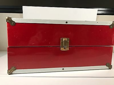 COLLECTABLE LARGE RED VINTAGE METAL DOLL CARRYING CASE 16x8