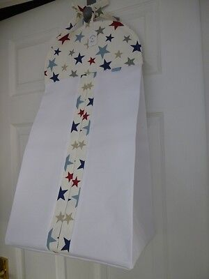 Bespoke Baby Nappy Stacker - Funky Royal Blue/Red Stars - 100% Cotton  BNWT