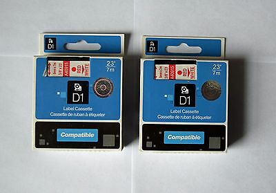 2 for Dymo 40915 D1 Label Printer Tapes 3/8 Red on White LabelManager LM 9mm