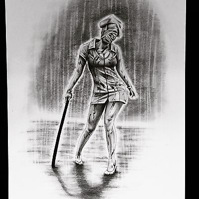 Original Pencil Drawing Of Silent Hill Nurse Horror Creepy Scary Artwork A4 Size