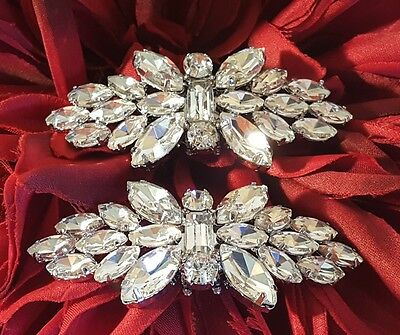 Bridal Rhinestone Shoe Clips Set of 2 Silver Plated